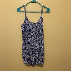 Blue and White Aztec Print Romper